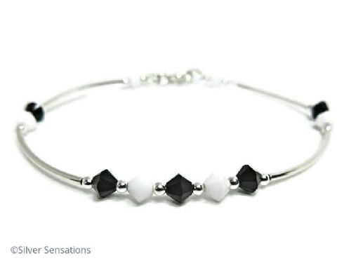 Black & White Swarovski Crystals & Sterling Silver Curve Tubes Designer Bangle Bracelet
